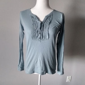 Eddie Bauer, long sleeve knit top w/ruffles